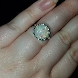 Size 5/6 silver opal ring